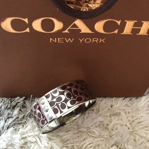 Coach Maroon and Silver Bangle